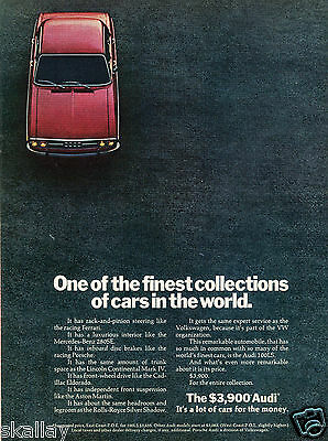 1972 Print Ad of Audi 100LS one of the finest collections of cars in the world