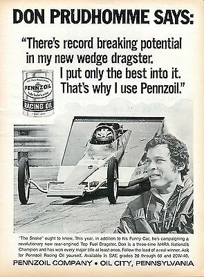 1971 Pennzoil Racing Oil Don Prudhomme Wedge Top Fuel Dragster Print Ad.