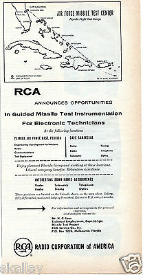 1956 Print Ad of RCA Air Force Missle Test Center Florida Flight Test Range