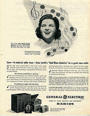 1945 General Electric GE Kate Smith Radio Phonograph Television & Electronics Ad