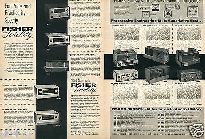1956 2 Page Print Ad of Fisher Fidelity AM-FM Tuners & Amplifiers