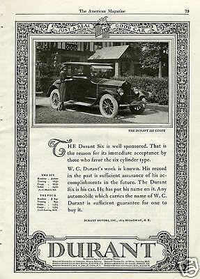 "1923 Durant Six Coupe "" Just A Real Good Car "" Vintage Print Ad"