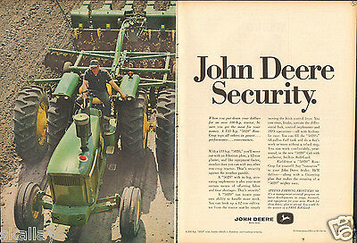1968 2 Page Print Ad of John Deere 5020 Row Crop Farm Tractor