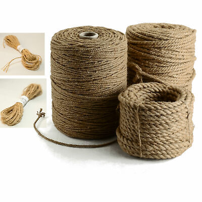 Natural Hemp Rope | Twine 1.5 to 8mm | Macrame Twisted Cord for Crafts Gardening