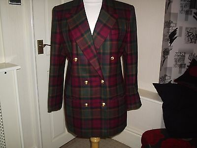 M&s Smart Tartan 100% Wool Blazer/ Jacket Size 16