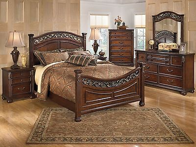 FLORES - 5pcs Euro Traditional Cherry Finish Queen Poster Bedroom Set Furniture