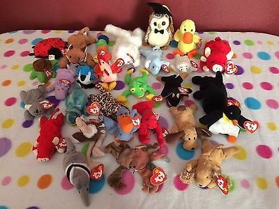 Ty NWT Lot Of 28 Beanies New With Tags Some Rare Beanie Baby Teenie Beanies