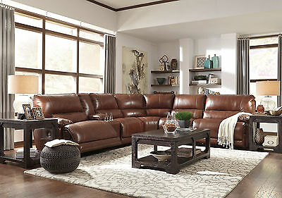 GIRONDE - Brown Real Leather Power Recliner Sofa Couch Sectional Set Living Room