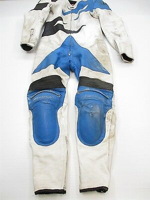 AGV #J8116 Men's Size 42 MOTORCYCLE Racing Full Zip White Leather Suit