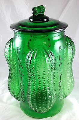 Planters Peanuts Forest Green Glass Advertising General Store Counter Jar