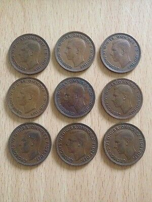 COLLECTABLE COINS: GB ½ HALF PENNY George VI 1941 to 1952 Bronze MIX x9