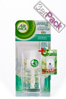 [31,49€/100ml] 3x AirWick Essential Oils White Flowers 19 ml