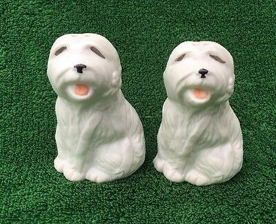 Vintage Ceramic OLD ENGLISH SHEEPDOGS Salt & Pepper Shakers + Stoppers Sheep Dog