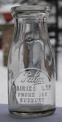 Palm Dairies Ltd - Half Pint - Milk Bottle - Sudbury, Ontario