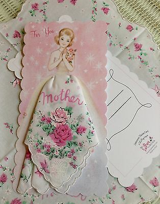 Sweet New Nostalgic Handkerchief Card For Mother!  Mailable Hankie Card!