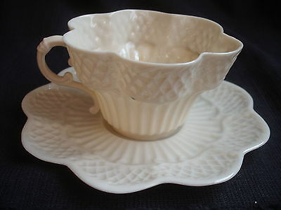 Irish Belleek Erne Pattern Cup and Saucer 'Blue' Second Black Mark Period  Rare