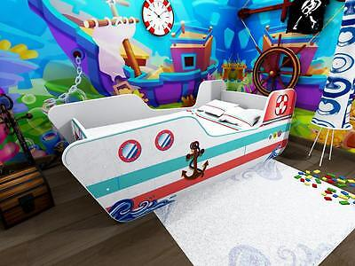 Kids Toddler Bed Frame with mattress Power boat  140 x 70