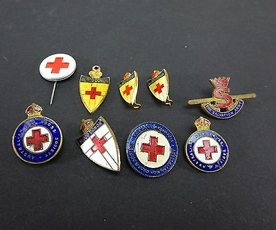 Vintage Collection Of 9 Red Cross & A Salvation Army Enamel Badges Pin