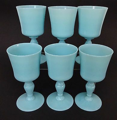 6 Vintage French Blue Opaline Milk Large Goblets Glass Portieux Vallerysthal Pv
