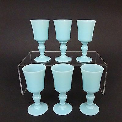 Set Of 6 Vintage French Blue Opaline Milk Liquor Portieux Vallerysthal Pv Glass