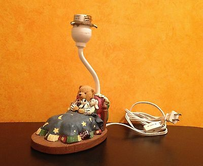 """Adorable Bear in the Bed Resin Table Night Lamp Nursery Kids Room Decor 9,5"""" H"""