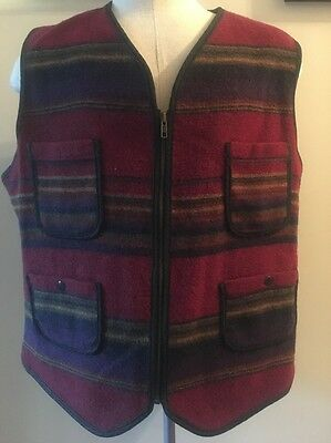 Vintage Woolrich Fishing Hunting Camping Vest Rustic Size L Made In USA Wool