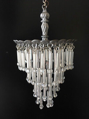 Dollhouse Miniature Handcrafted Silver Frame Crystal Chandelier 12V 1:12 Scale
