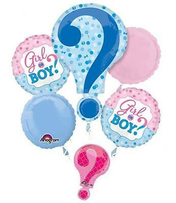 NEW Baby Gender Reveal Boy or Girl 5pc Balloon Bouquet Party Shower He She? ~