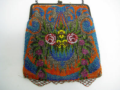 ANTIQUE VICTORIAN Flapper  BEADED EVENING BAG PURSE MULTICOLOR FLOWERS micro
