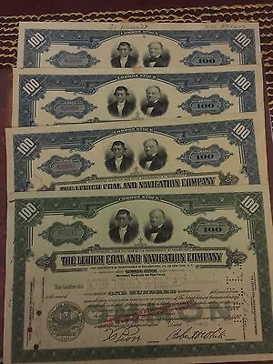 Lehigh Coal And Navigation Company Common Stock Set Of Four 1940's Certificates