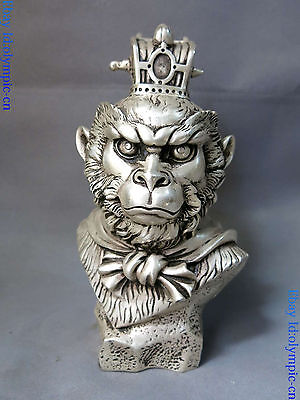 "9"" China silver carved buddhism lucky Handsome Monkey King head sculpture Statue"