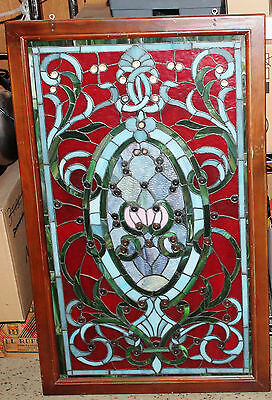 "Beautiful Stained Glass Window - 37""Tall x 23"" Wide - Red"