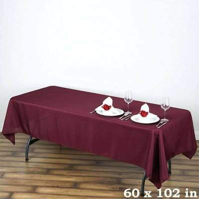 5 Pk 60x102 in. Polyester Rectangle Seamless Tablecloth Wedding Party