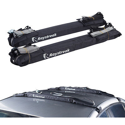 2x Padded SUP Kayak Canoe Ski Paddle Board Roof Car Rack Carrier with Bag, 24''