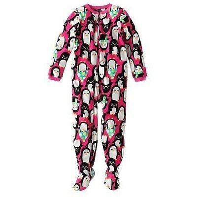Carter's Toddler Girls 2T 3T 4T Pink Penguin Microfleece Footed Pajamas NEW
