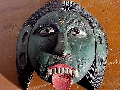 Antique Kali Wood Mask Hindu Goddess