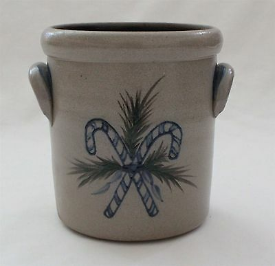 """Rowe Pottery Works 2001 5"""" x 4 1/2"""" Candy Cane Crock"""