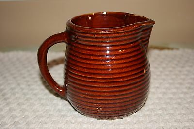 Vintage Monmouth Stoneware Pottery Ribbed Pitcher