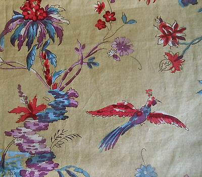 Vtg French Chinoiserie Indienne Floral Bird Cotton Fabric ~Red Purple Blue Ochre