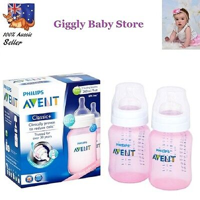 New Philips Avent Classic Pink Baby Feeding Bottles Coloured 2X 260Ml Anti-Colic