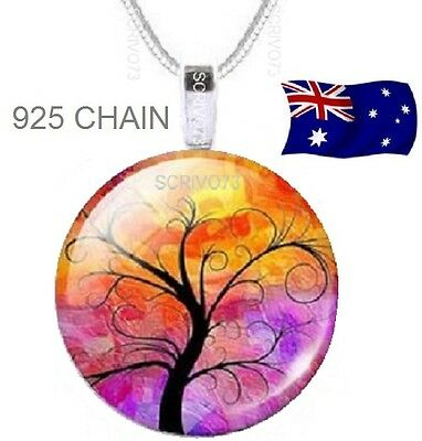 TREE of LIFE Family Glass Cabochon Sterling Silver or plated Pendant Necklace