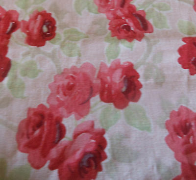 Antique French Roses Light Cotton Fabric ~Strawberry Pink Red Green ~ Beautiful!