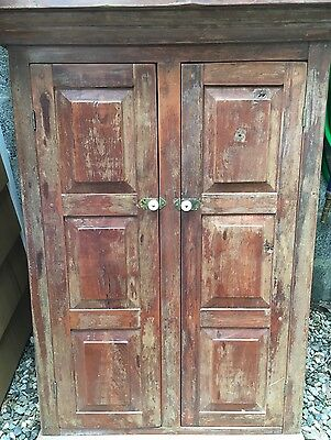 farmhouse antique primitive cupboard kitchen cabinet red paint ...