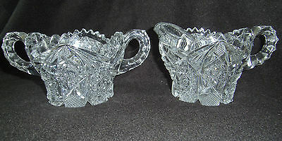 Vintage Imperial Glass Company Nucut Star And Cane Pattern # 526 Cream And Sugar