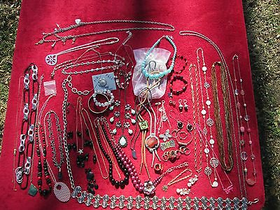 Large Lot of Costume Jewelry Over 50 Pieces - Necklaces Rings Bracelets & More