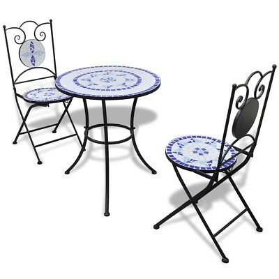 #3 Piece Patio Porch Bistro Garden Table & Chairs Set Mosaic Chic Blue and White