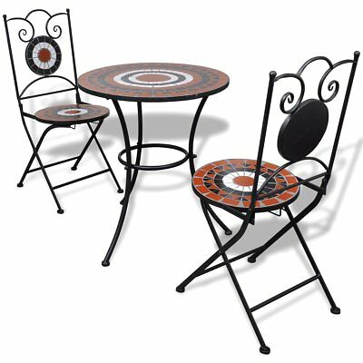 #3 Piece Patio Porch Bistro Garden Table & Chairs Set Mosaic Terracotta and Whit