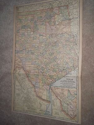 1904  TEXAS color map original authentic ANTIQUE Dated indian territory 20 x 12