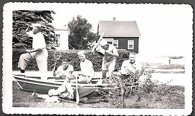 2 Vintage 1940's Vacation Friends At Cabin Drunk Goofing Off Boat Old Photos
