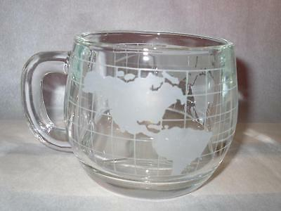 Vtg Nestle Nescafe Glass Frosted Etched Old World Map Globe Coffee Coco Mug Cup